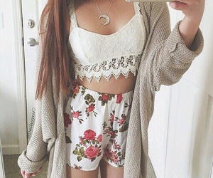 cardigan, outfit, and shorts image