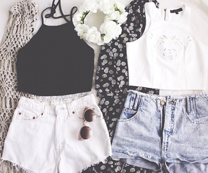 cardigan, flower crown, and white shorts image