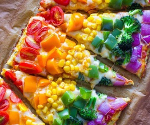 pizza, healthy, and rainbow image