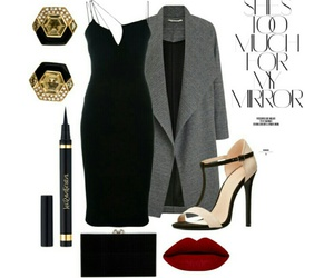 eyeliner, sexy heels, and fashion outfit image