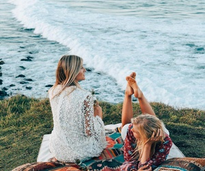 beach, girls, and vacation image