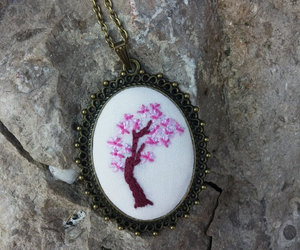 etsy, flower necklace, and pendant necklace image