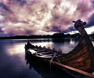 boat, vikings, and nature image