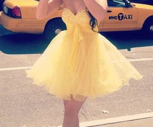 dress, yellow, and prom dress image