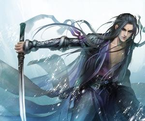 sword, art, and long hair image