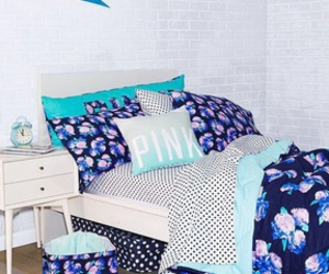 pink, blue, and bedroom image