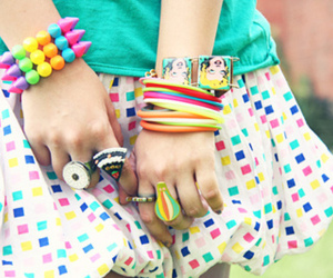 bracelet, colors, and skirt image