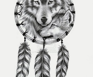 wolf, dreamcatcher, and tattoo image