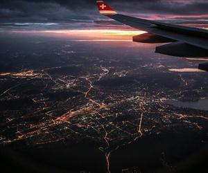 lights, plane, and sky image