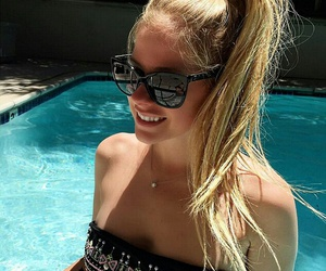 Avril Lavigne and pool image