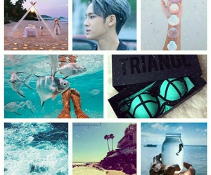 beach, blue, and kpop image
