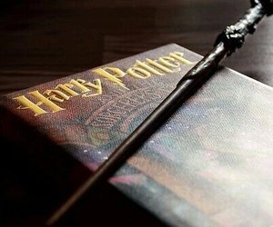 harry potter, book, and wand image