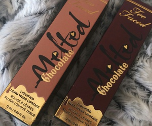makeup, chocolate, and lipstick image