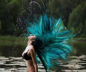 blue, hair, and water image
