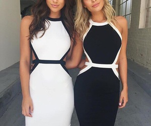 dress, white, and black image