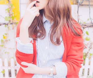 asian, blouse, and cardigan image