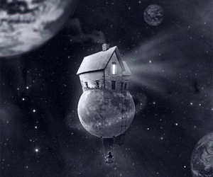 moon, house, and space image