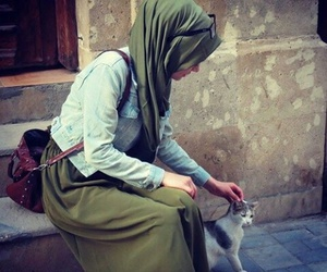 hijab, cat, and muslim image