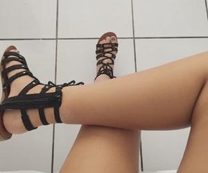 black sandals, shoes, and sandals image