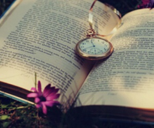 book, flowers, and clock image