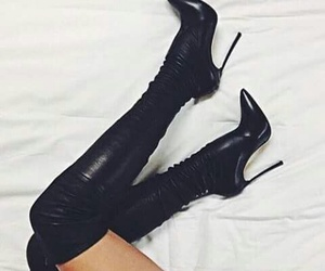 boots, black, and heels image