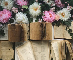 books, reading, and flowers image