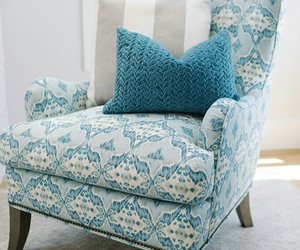 arm chair, blue and white, and home decor image