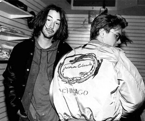 river phoenix, keanu reeves, and black and white image