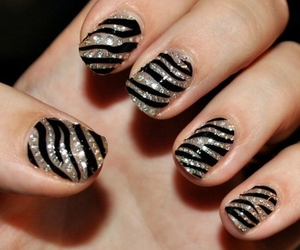 nails, zebra, and black image