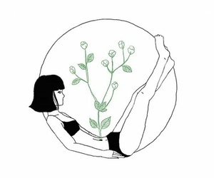 art, girl, and plants image