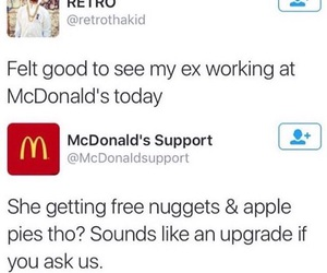 come back, ex, and mcdonald image