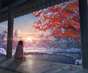 anime, art, and winter image