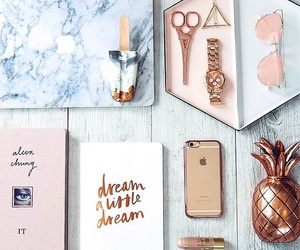rose gold, iphone, and marble image