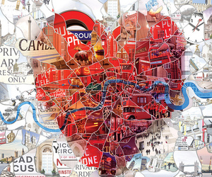 london, heart, and map image