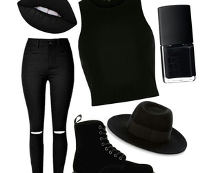 black, nars, and Polyvore image
