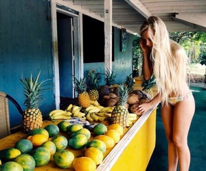 girl, summer, and fruit image
