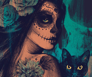 cat, art, and skull image