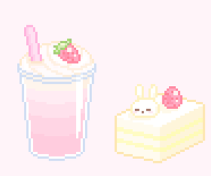 kawaii, pale pink, and pixel art image