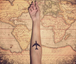 adventure, airplane, and map image