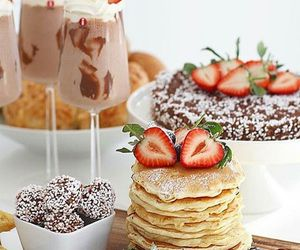 drink, strawberries, and food image