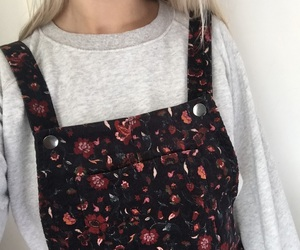 dress, flowers, and grey image
