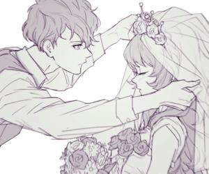 anime, couple, and wedding image