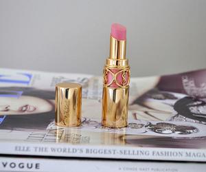 lipstick, magazine, and YSL image