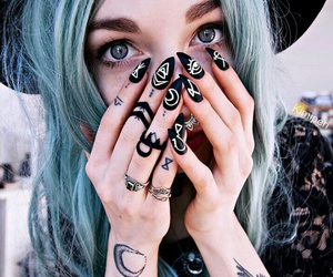nails, hair, and tattoo image