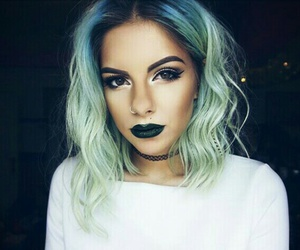green and lipstick image