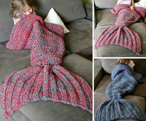 blanket, crochet, and mermaid image