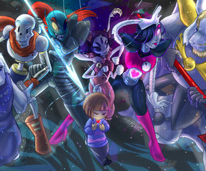 undertale, papyrus, and frisk image