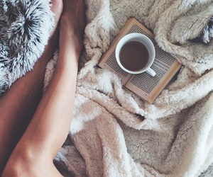 book, coffee, and legs image