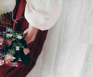 bouquet, hijab, and love image