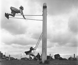 black and white, swing, and vintage image